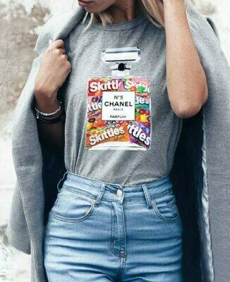 Chanel Perfume Skittles Print Cotton T-shirt
