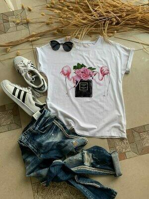 Flamingo Chanel Perfume Print Cotton T-shirt