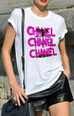 Tri Chanel Perfume Print Cotton T-shirt