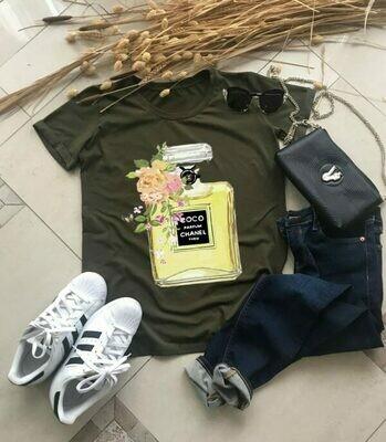 Chanel Coco Perfume Print Cotton T-Shirt