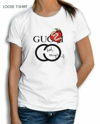 Red Gucci Heart Print Cotton T-Shirt