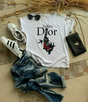 Dior Revolver Bullets Print Cotton T-Shirt