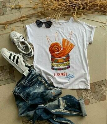 Scarf And Bracelets Hermes Print Cotton T-shirt