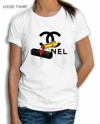 Red Chanel Lipstick Print Cotton T-shirt