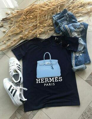 Blue Hermes Paris Bag Print Cotton T-shirt