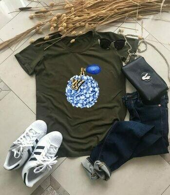 LV Blue Perfume Print Cotton T-shirt