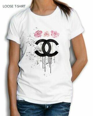 Chanel Logo Roses Print Cotton T-shirt