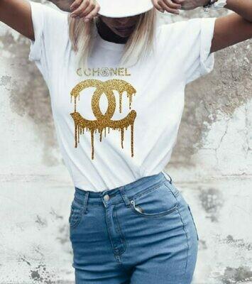 Golden Liquid Chanel Logo Print Cotton T-shirt