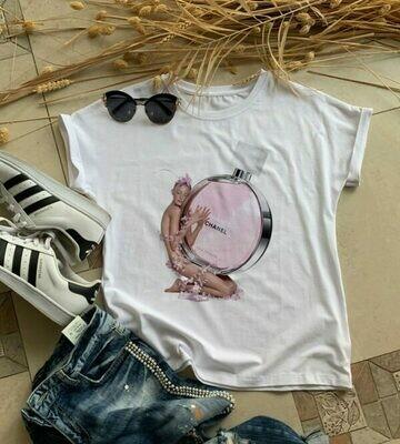 Pink Chanel Perfume Print Cotton T-Shirt