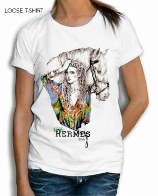 Woman Horse Hermes Print Cotton T-shirt