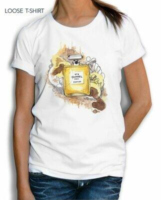 Chanel Yellow Perfume Print Cotton T-shirt
