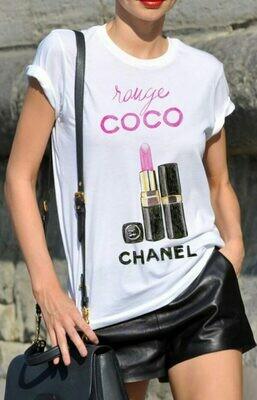 Chanel Coco Pink Lipstick Print Cotton T-shirt
