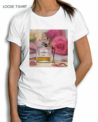 Chanel Paris Perfume Roses Print Cotton T-shirt