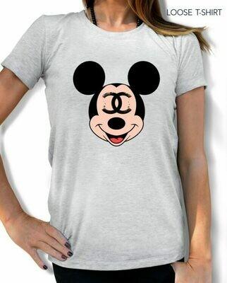 Mickey Mouse Chanel Logo Print Cotton T-shirt