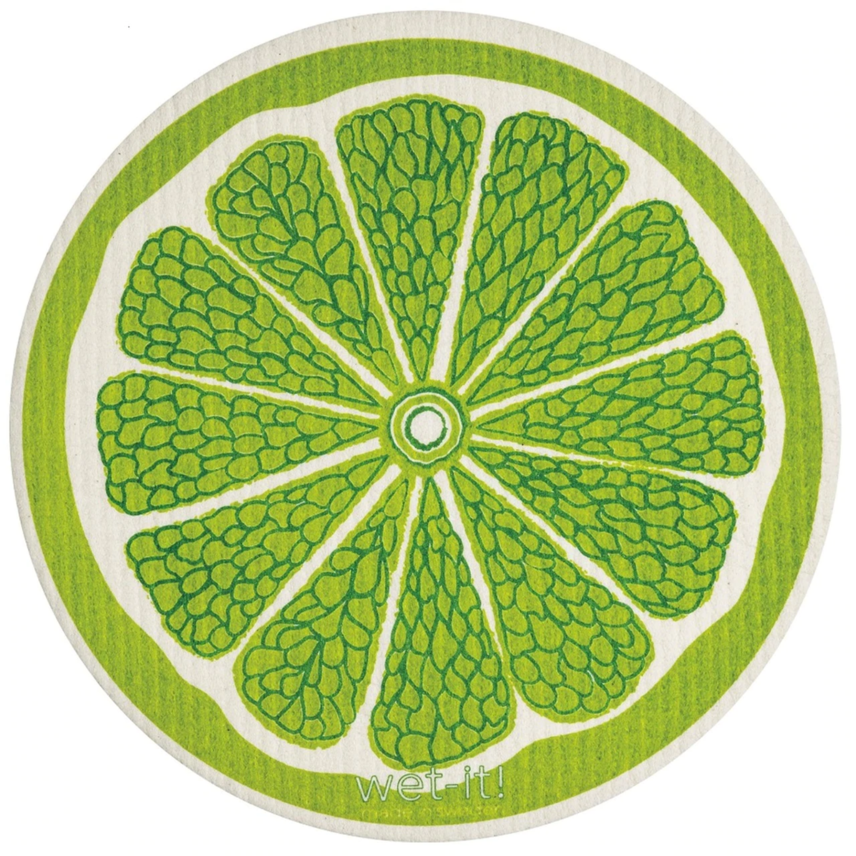 Lime Wet It Round Dishcloth