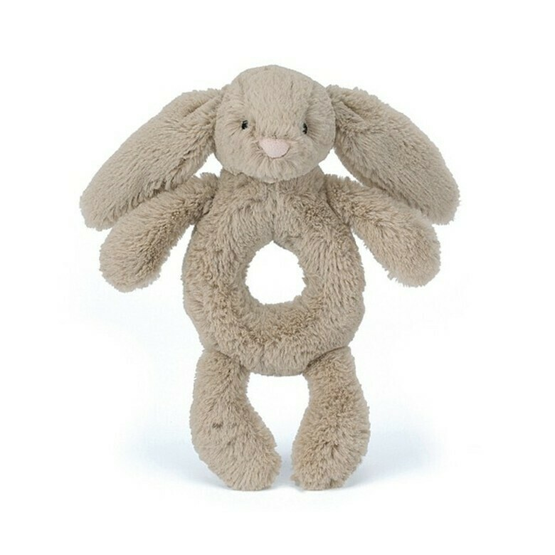 Beige Bunny Ring Rattle