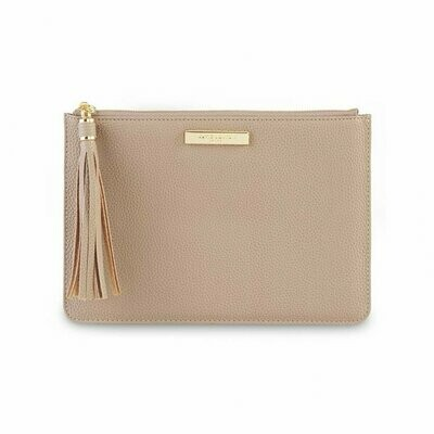 Taupe Tassel Pouch