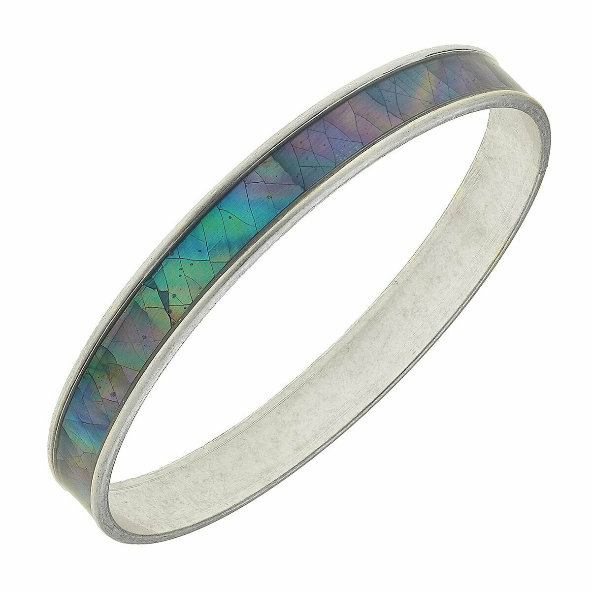 Paola Bangle Bracelet in Grey Mother of Pearl Shell