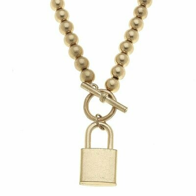 Grayson Padlock T-Bar Necklace in Worn Gold
