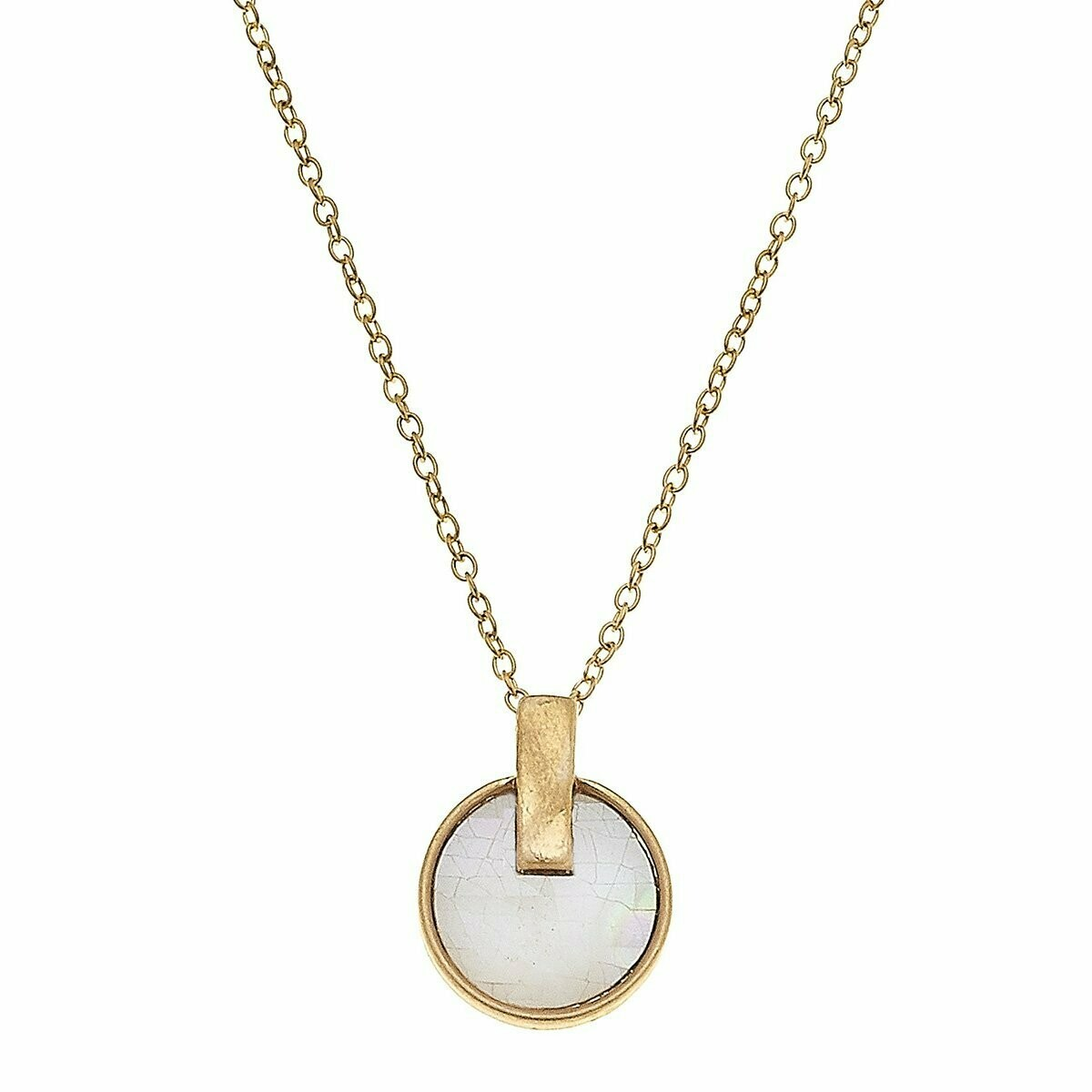 Siena Disc Necklace In Mother Of Pearl Shell