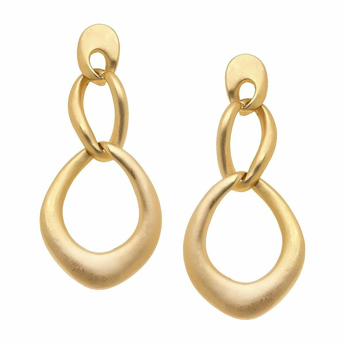 Celine Drop Earrings in Matte Gold