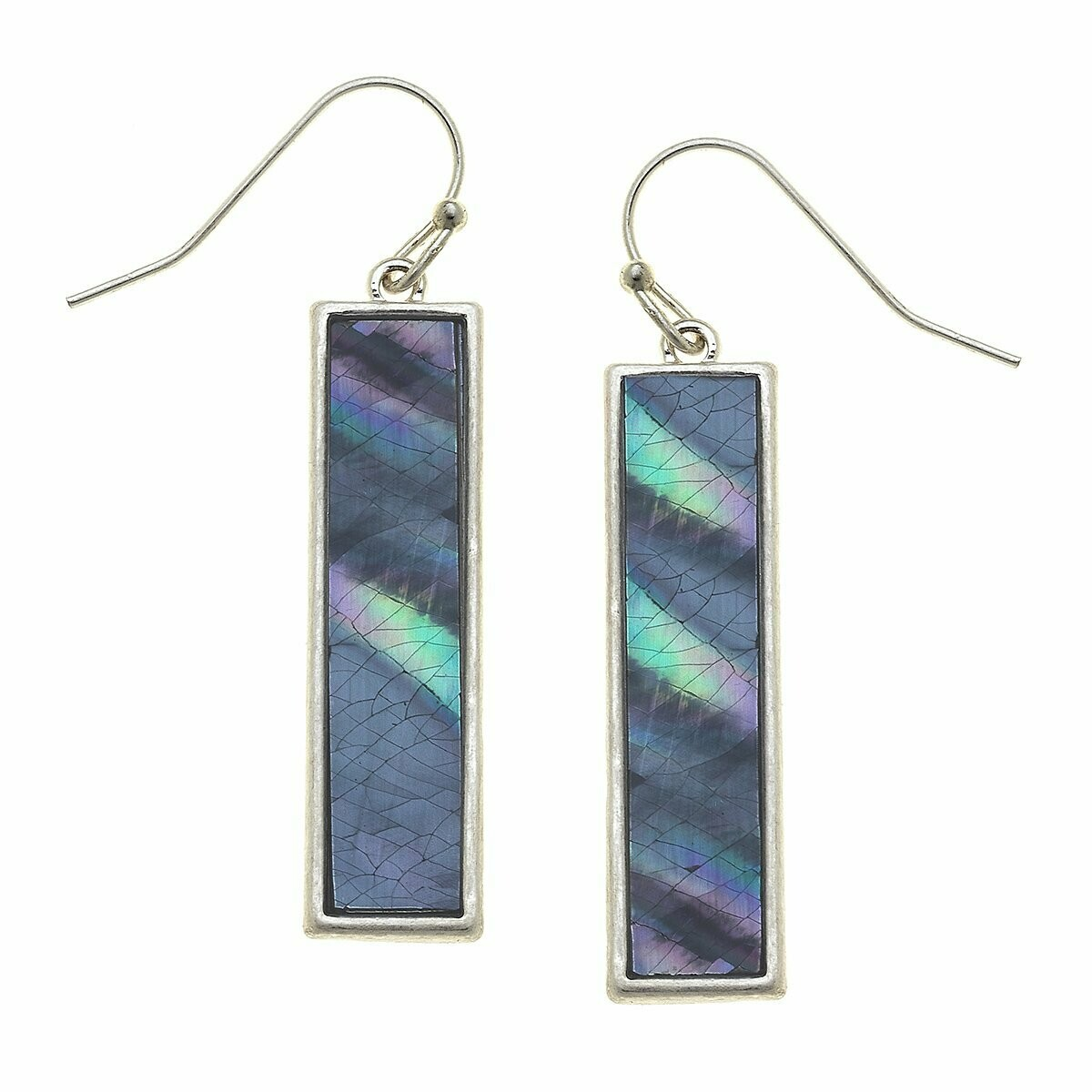 Aerin Bar Earrings in Grey Mother of Pearl Shell