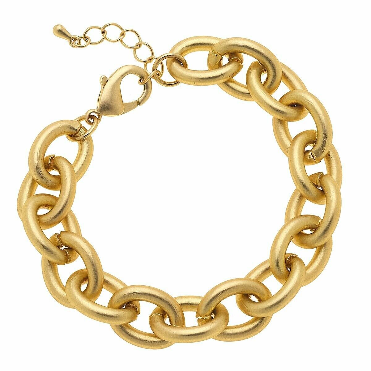 Vera Chain Link Bracelet in Matte Gold