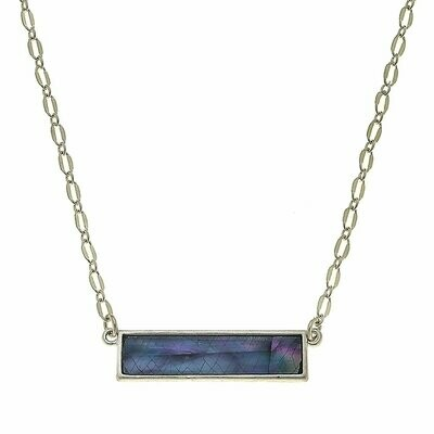 Aerin Bar Necklace in Grey Mother of Pearl Shell