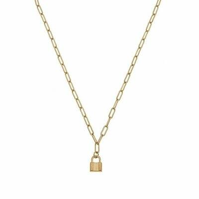 Genesis Mini Padlock Charm Necklace in Worn Gold