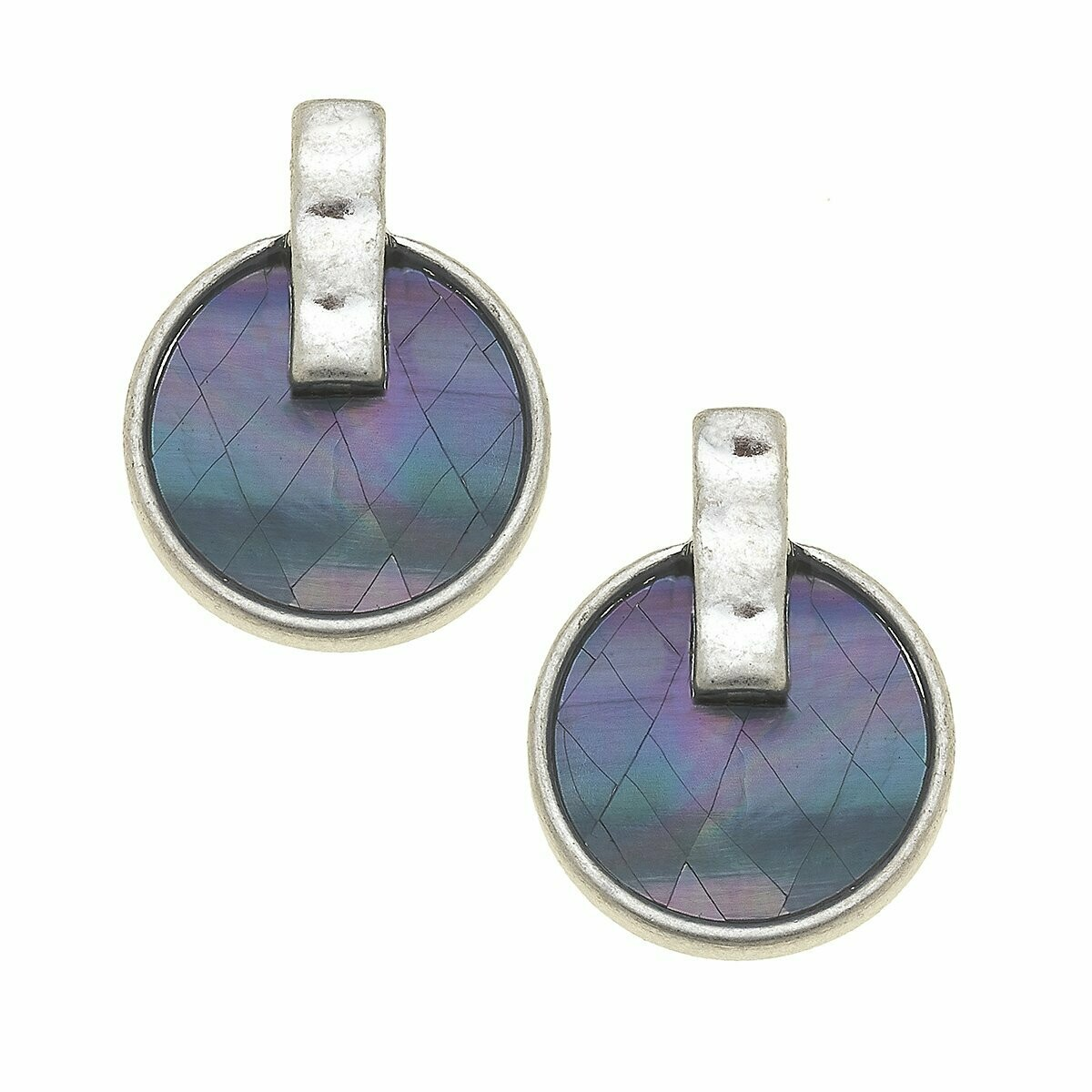 Siena Stud Earrings in Grey Mother of Pearl Shell