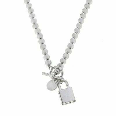 Grayson Padlock T-Bar Necklace in Worn Silver