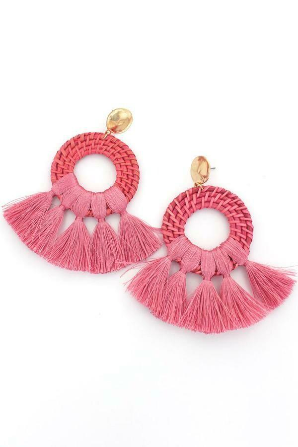 Coral Rattan Earrings