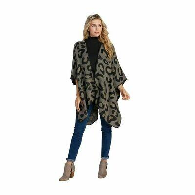 Leopard Knit Wrap in Gray