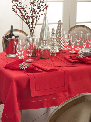 """72"""" Sq Tablecloth Red"""