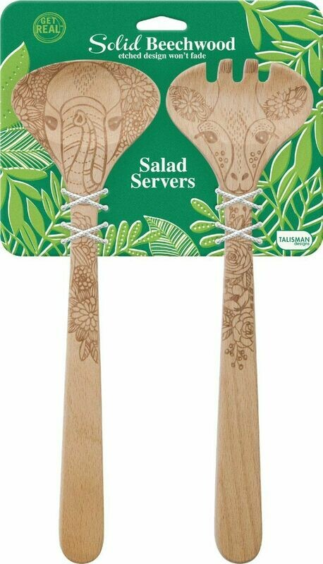 Elephant and Giraffe Wildlife Salad Set