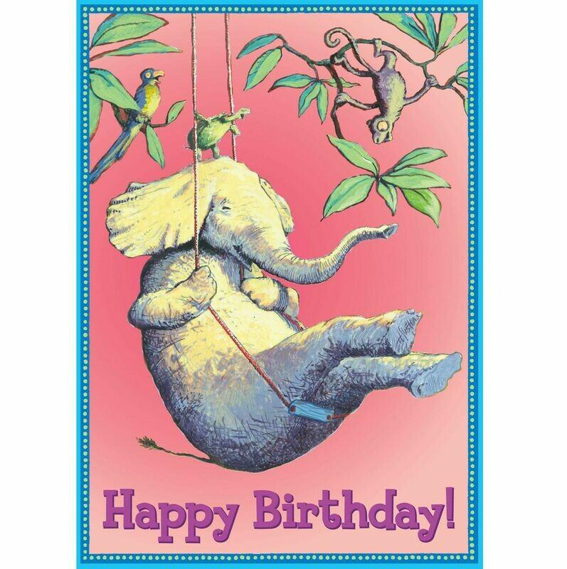 Elephant on Swing Birthday Card
