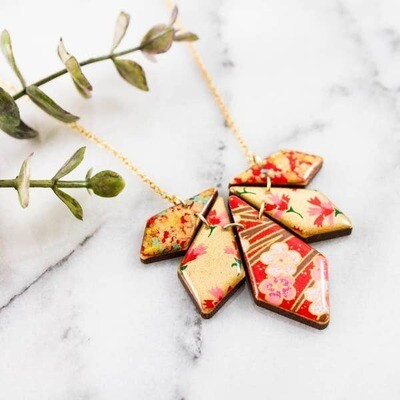 Japanese Geometric Petal Necklace... Red + Gold