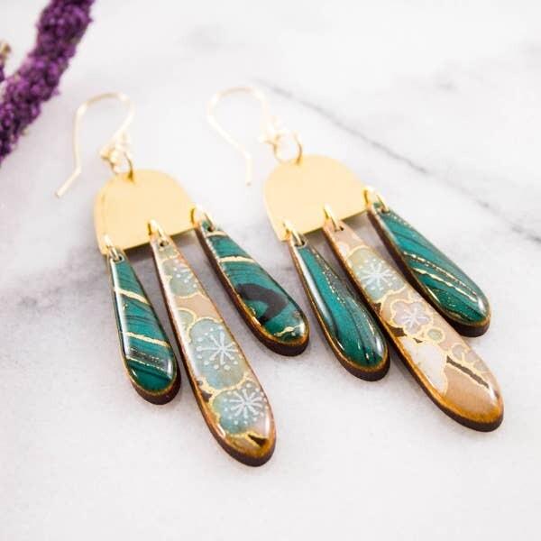 Japanese Triple Raindrop Earrings- Turquoise Marble