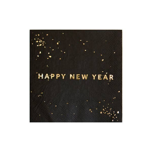 Black Happy New Year Cocktail Napkins