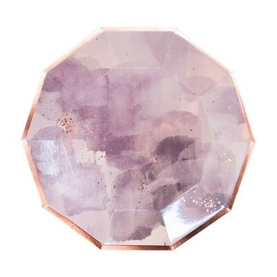Amethyst - Light Purple Watercolor Prem. Large Paper Plates