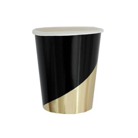 Black Colorblock Paper Cups