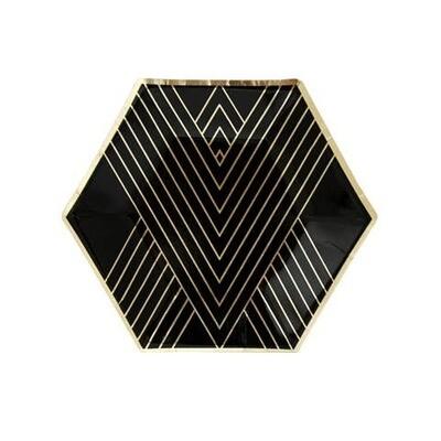 Black Striped Small Paper Plates