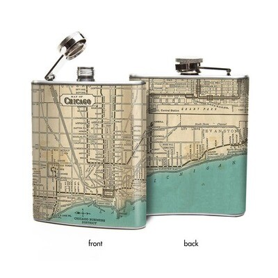 Chicago Illinois Map Hip Flask