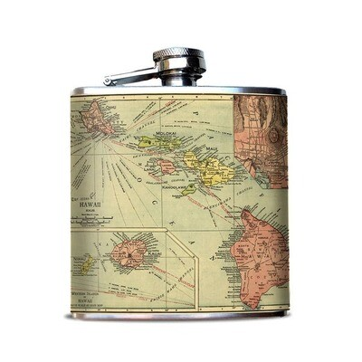 Hawaii Vintage Island Map on Alcohol Flask
