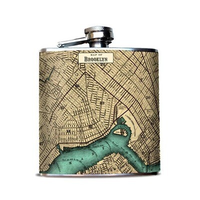 Brooklyn New York Vintage Map Flask