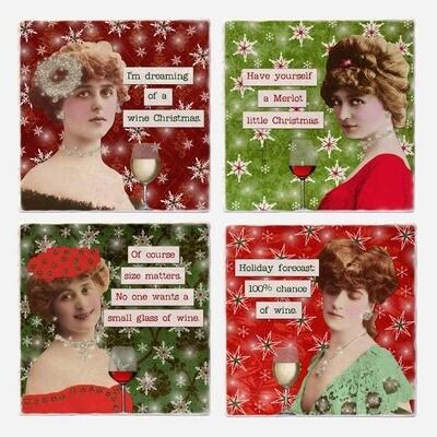 Wine Christmas Coaster Tiles - Set of 4