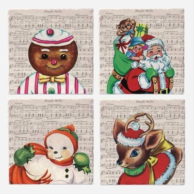 Vintage Christmas Icons Coasters Set of 4