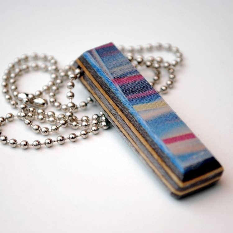 20in Recycled Skateboard Bar Shape Wood Necklace
