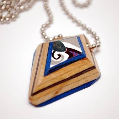 Shield Recycled Skateboard Pendant Necklace