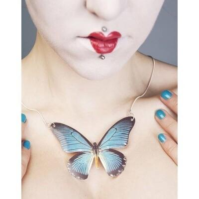 Papilio Zalmoxis Butterfly Pendant Necklace Large